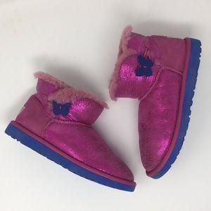 Ugg short boots pink sparkle size 4
